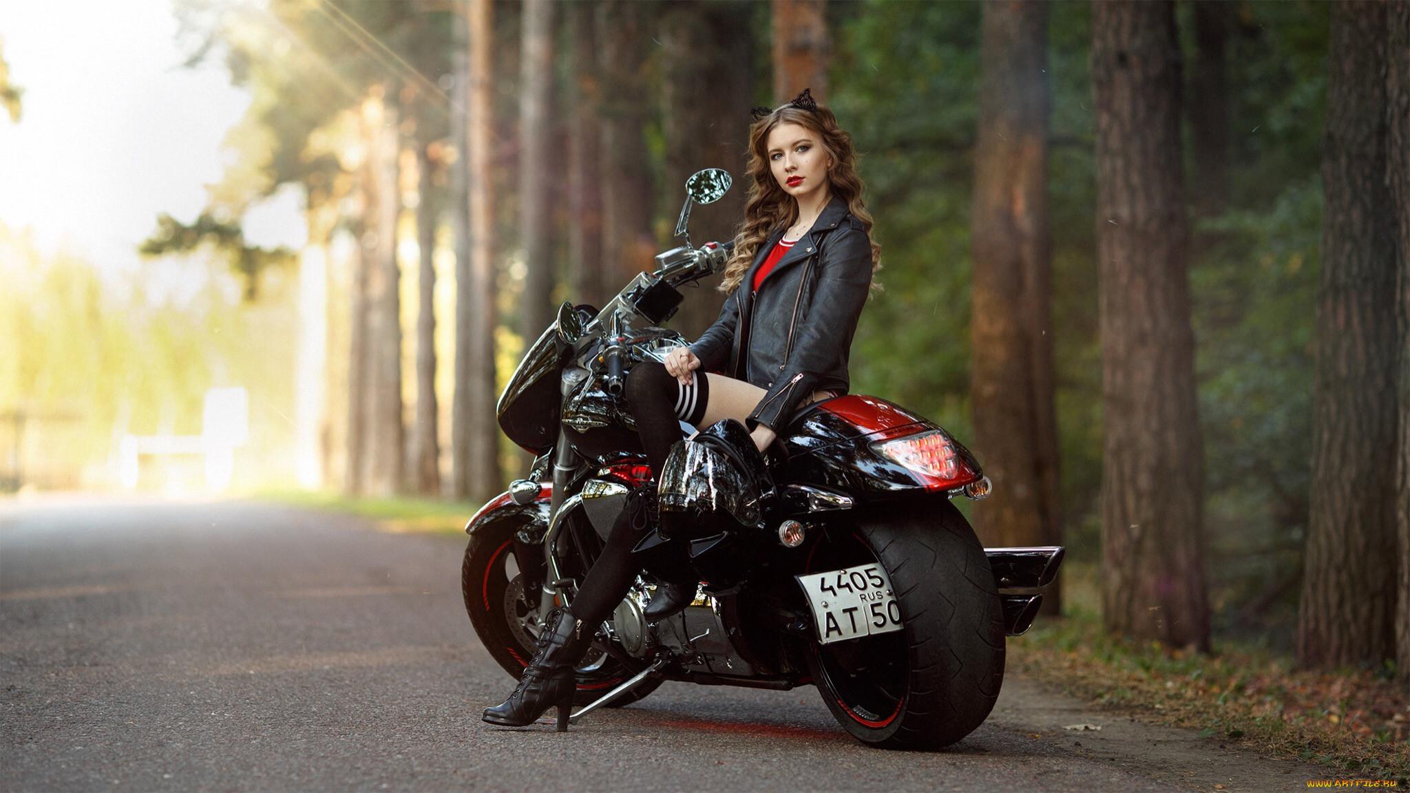 Картинки для рабочего стола девушек с мотоциклами